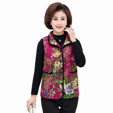 Oriental Design Quilted Vest Woman Ethnical Flower Puffer Waistcoat Red Purple Padded Vests Vintage Warm Gilet Autumn Wear