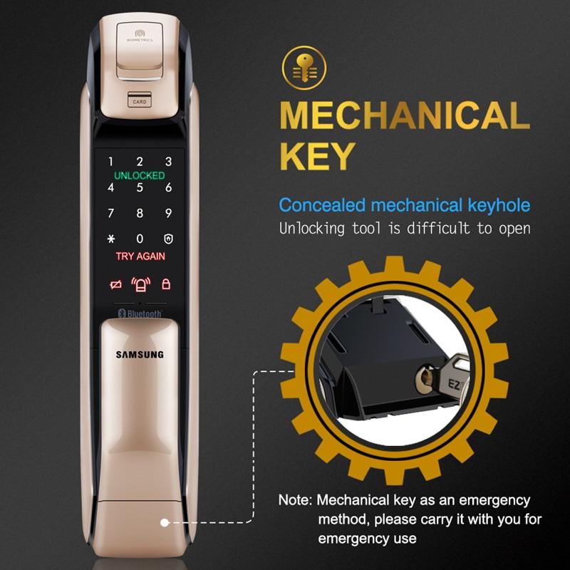 SAMSUNG Fingerprint PUSH PULL Digital Door Lock With WIFI Bluetooth App SHS-DP728 English Version Big Mortise AML320