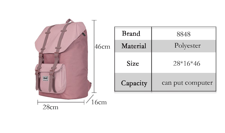 c4bab0a76c 8848 Brand Women Backpack Female Travel Backpack Waterproof Material Large  Capacity 20.6 L Shoulder Bag Popular Style111-006-003. Attention  Because  of ...