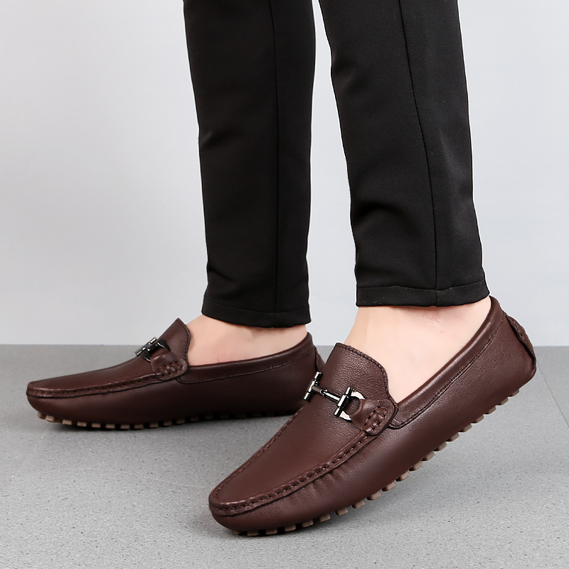 US $27.9 40% OFF|Man Shoes Leather Genuine Summer Mens Moccasin Shoes Fashion Leather Loafer Shoes Men Luxury Big size 38 47 Male Casual Footwear in