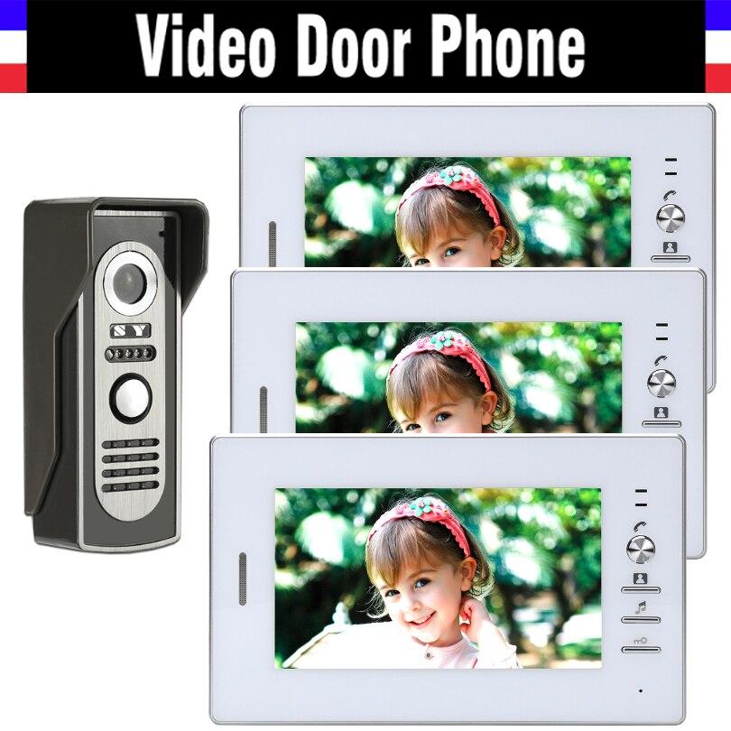 7 дюймов проводной видео домофон видеодомофон Системы видео Дверные звонки охранных ИК ночного видения Алюминий сплав Камера 3- экран