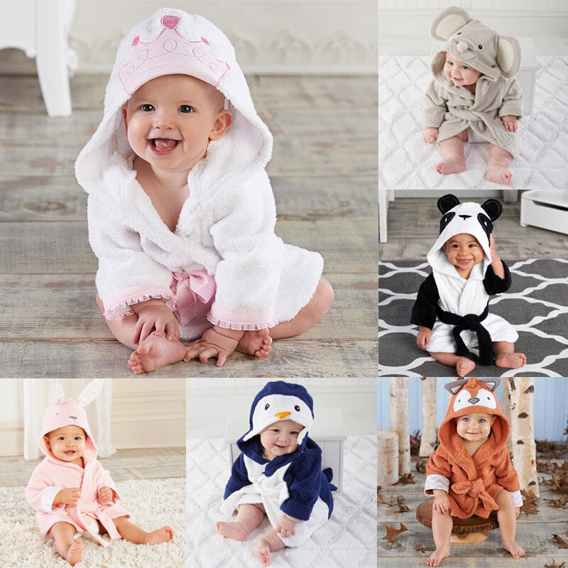 Toddler Boy Girl Clothes Animal Bathrobe Baby Hooded Bath Towel Infant Bathing Honey Baby Suit Soft Robes