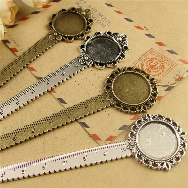 10 Pcs/lot DIY Craft Flower Design Bookmark With Ruler Fit Inner 20mm Cabochon Base Vintage Metal Book Marks School Stationery