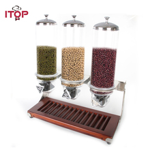 ITOP 4L*3 Wooden Base Triple Head Grain cereals Dispenser Dry Food Dispenser for Ice Cream / Dessert