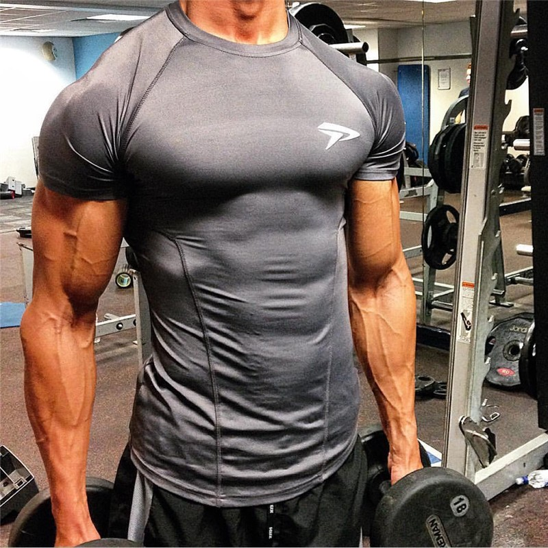 New high quality 2020 gymS leica polyester patchwork compressed T-shirt male bodybuilding muscle men men's t shirts