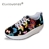 ELVISWORDS Color Butterfly Print Women Flat Swing Shoes Fashion Wedge Flatform Shoes for Teen Girls Female Ladies Slimming Shoes