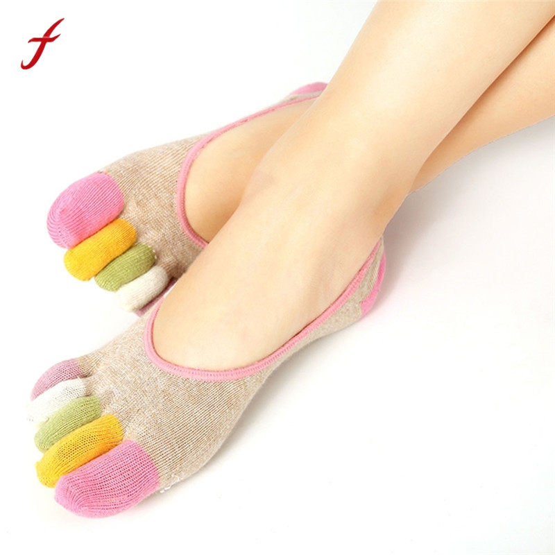 Fashion-New-Womens-Socks-5-Toe-Colorful-Cute-Non-Slip-Soft-Cotton-Blended-Ventilation-Massage-Toe
