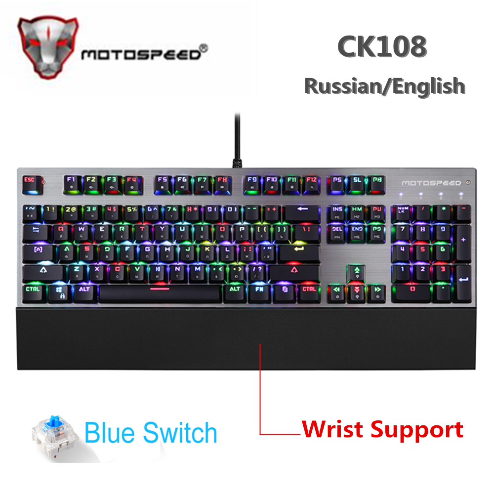 Original Motospeed CK108 Mechanical Keyboard 104 Keys RGB Blue Switch Gaming Wired LED Backlit Anti-Ghosting for Gamer Computer original motospeed ck108 rgb blue switch mechanical russian keyboard gaming wired led backlit backlight for gamer pc desktop