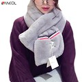 vancol 2017 new arrival striped warm thickness winter scarves girl cross ring neckerchief white faux rabbit fur scarf women