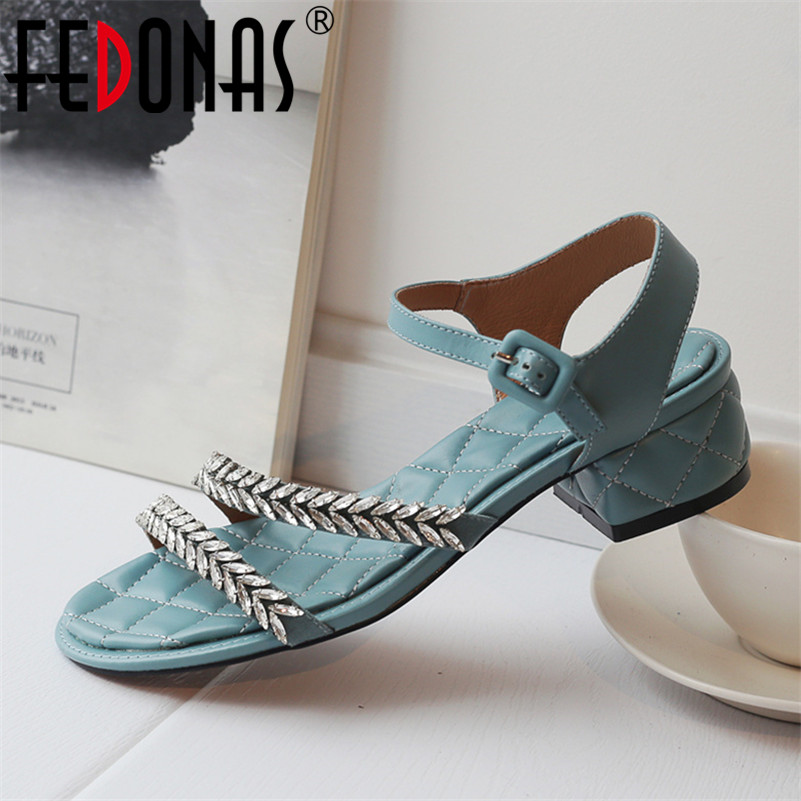 FEDONAS Vintage Fashion Women Sandals 2019 Classic Genuine Leather Solid Buckle High Heels Shoes Woman Party