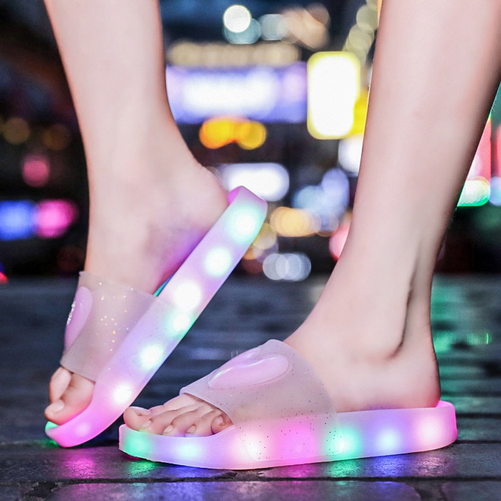New Arrival Glowing Luminous Feminino Baskets with Light Sole USB Charger Children Led Slippers for Boy&Girl Light Up Shoes
