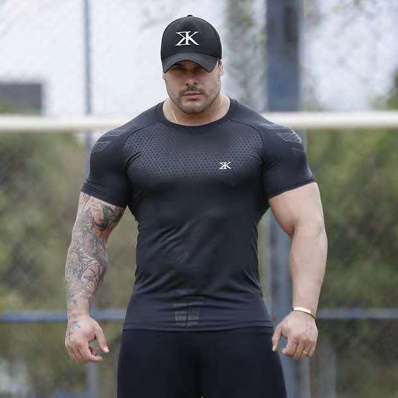 Image 2 - Compression Quick dry T shirt Men Running Sport Skinny Short Tee Shirt Male Gym Fitness Bodybuilding Workout Black Tops ClothingT-Shirts   -