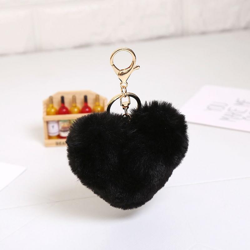 Multicolor 10cm imitatie faux groot hart konijnenbont sleutelhangers - Mode-sieraden - Foto 4