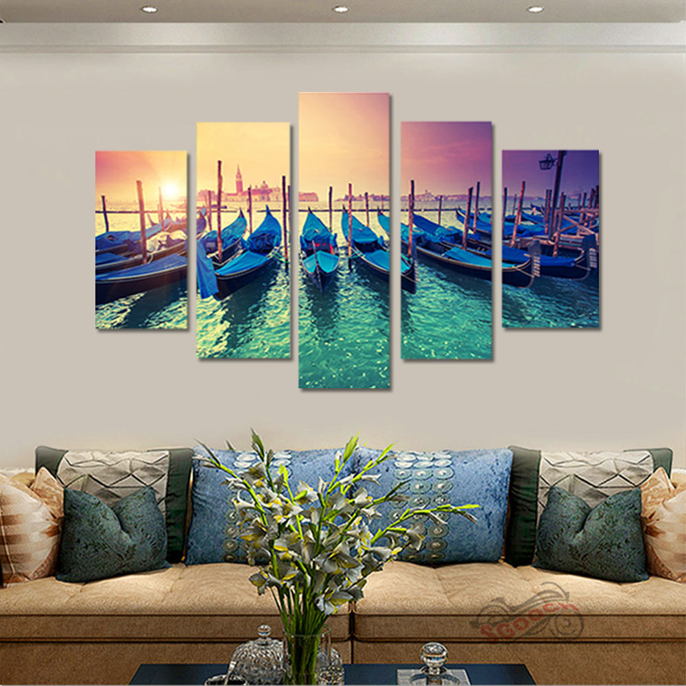 Unframed HD Canvas Painting Blue Sea Sunset Row Of Boats Picture Prints Wall Picture For Living Room Wall Art Decoration