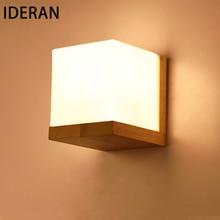 IDERAN Wand Lampen Holzlampe Schlafzimmer E27 Nachttischlampe Wandleuchte Lesen Kreative Wohnzimmer Foyer Hause Beleuchtung