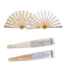 2 uds ventilador plegable de encaje Vintage chino grande plegable hueco abanico de encaje artesanías antiguas de bambú para la decoración de la Mesa de baile de la boda regalo