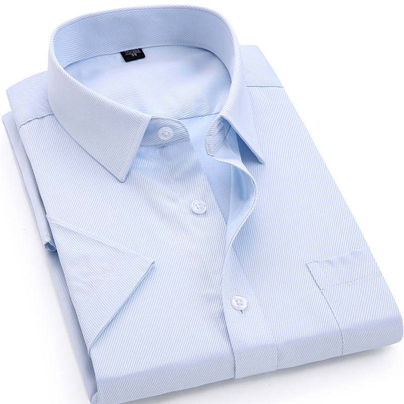 Pria Kasual Gaun Kemeja Lengan Pendek Twill Putih Biru Merah Muda - Pakaian Pria