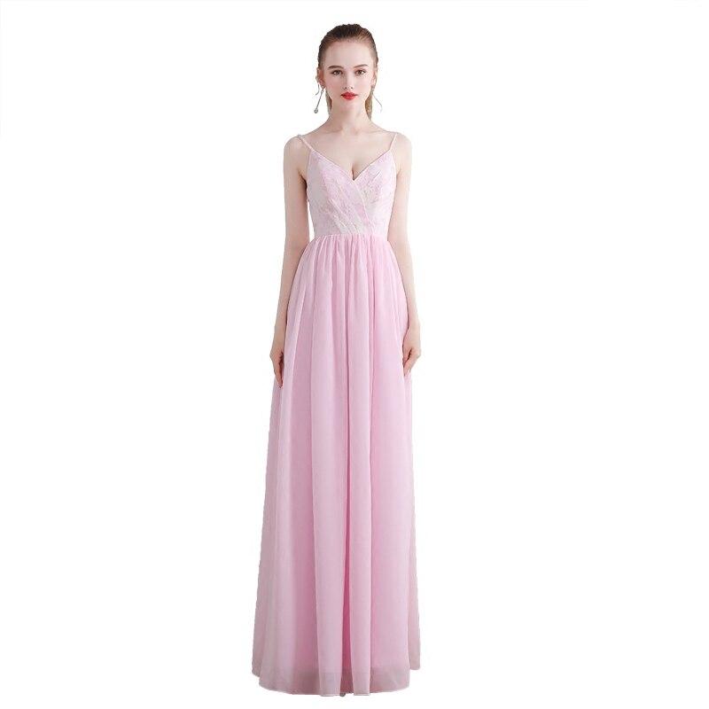 Beauty-Emily Chiffon Lace Pink   Bridesmaid     Dresses   2019 Long for Women A-Line Beads Sleeveless Vestido da dama de honra