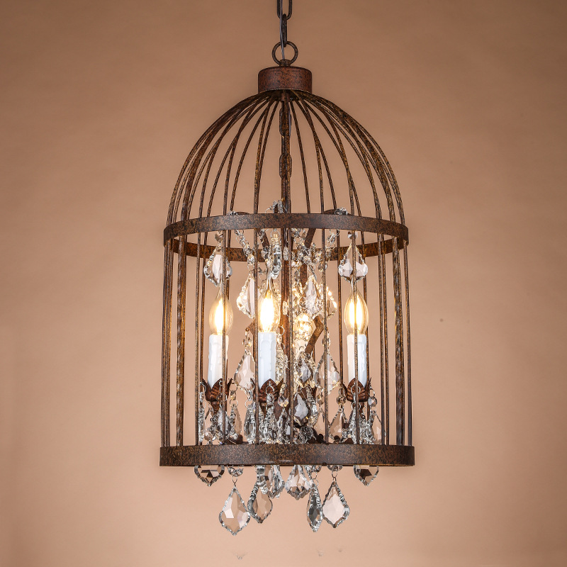Retro Vintage Rust Wrought Iron Cage Chandeliers E14 Large