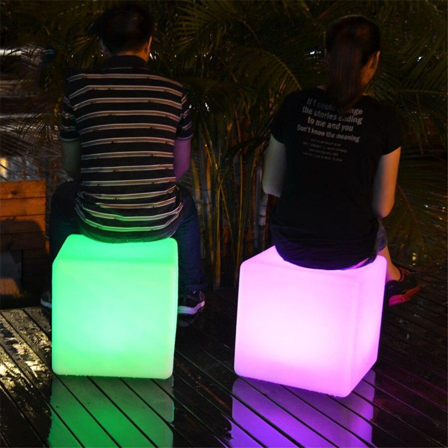 Thrisdar 30 CM 40 CM a mené la barre éclairée de meubles a mené la chaise de siège de Cube lumière de nuit tabourets de Bar extérieurs lampes de Table en plastique - 5