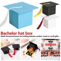 50 pcs/lot Graduation Cap Candy Box Graduation Celebration Party Decoration Candy Favor Boxes Graduation Gift Packing Box