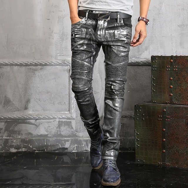 Italy Famous Brand Silver Coated Jeans Men Boot Cut Cool Designs Autumn  Winter Biker Denim Jeans For Men