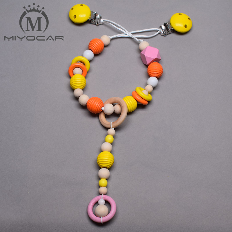 MIYOCAR lovely yellow and pink wooden beads baby pram charm stroller toy Baby Rattles Mobiles toy rattle attached to bed