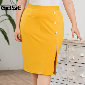 GIBSIE Plus Size Solid Elegant Pocket Side Button Women Skirt Knee-Length Bodycon Split Skirt Office Lady High Waist Midi Skirts