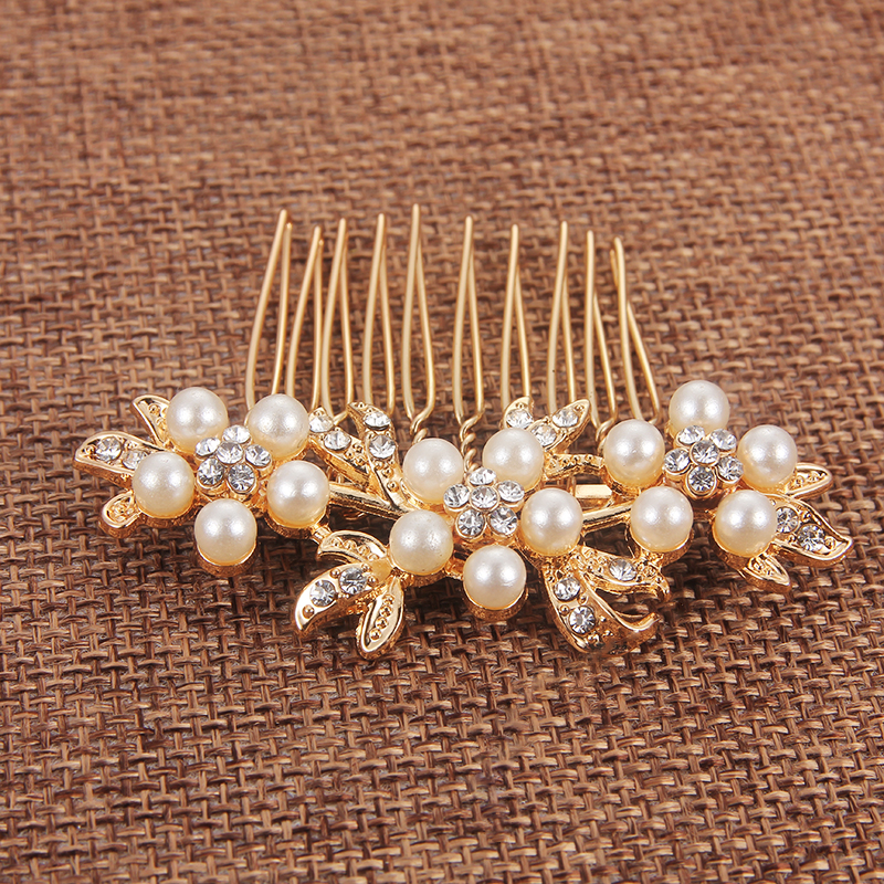 New Fashion Bridal Hair Accessories Wedding Headdress Floral Combs Pearl Wedding Hair Combs Hair Clip Wedding Hair Pins Headwear