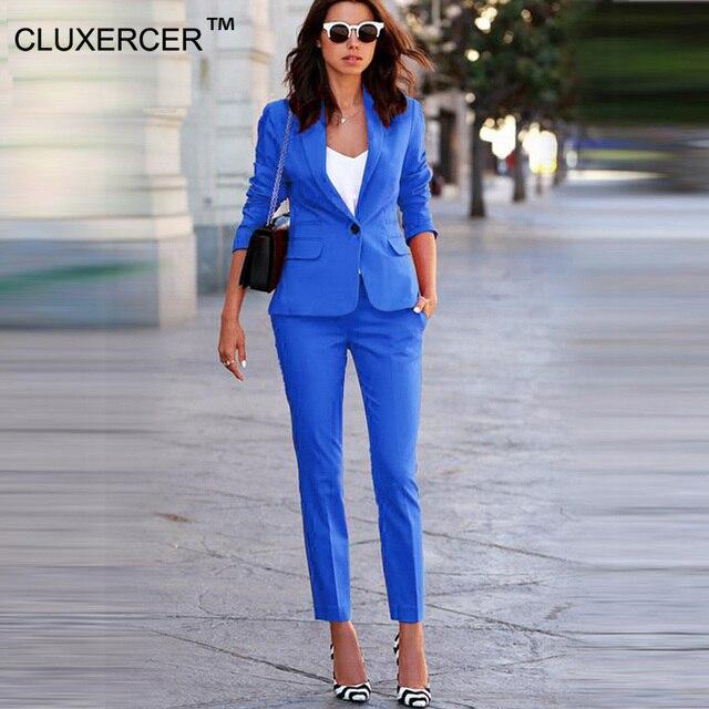 21d90fcbba Damskie garnitury biurowe formalne biuro spodnie garnitury damska odzież  robocza 2 sztuka zestawy jeden przycisk jednolite