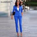 De las mujeres Trajes de Negocios Oficina Formal Trajes pantalón del desgaste del Trabajo femenino 2 Unidades Establece Un Botón Uniforme Diseños Blazer Suit Jacket conjunto
