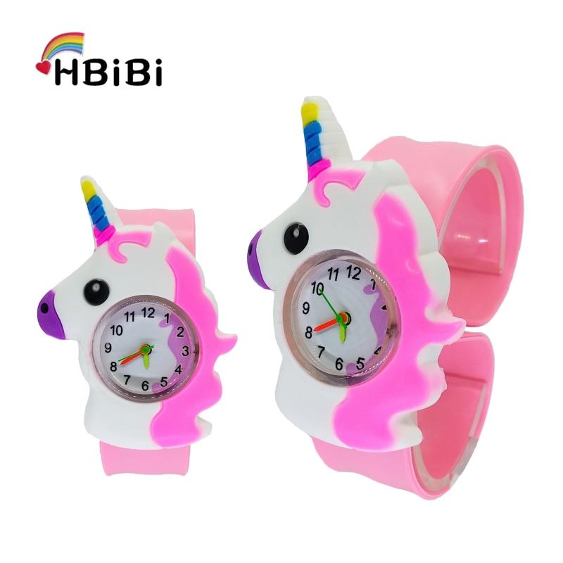 4 Mixed Cartoon Bee Pony Pattern Kids Watches Turtle Slap Pat Ring Watch Children Electronic Sports Wrist Watch Boys Girls Clock