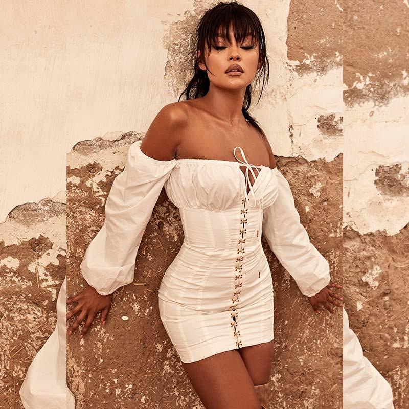 19 Summer Dress Women Fashion Solid Casual Regular Long Sleeve Sexy Club Slash neck Bangdage Sheath Women Dresses Vestidos 5