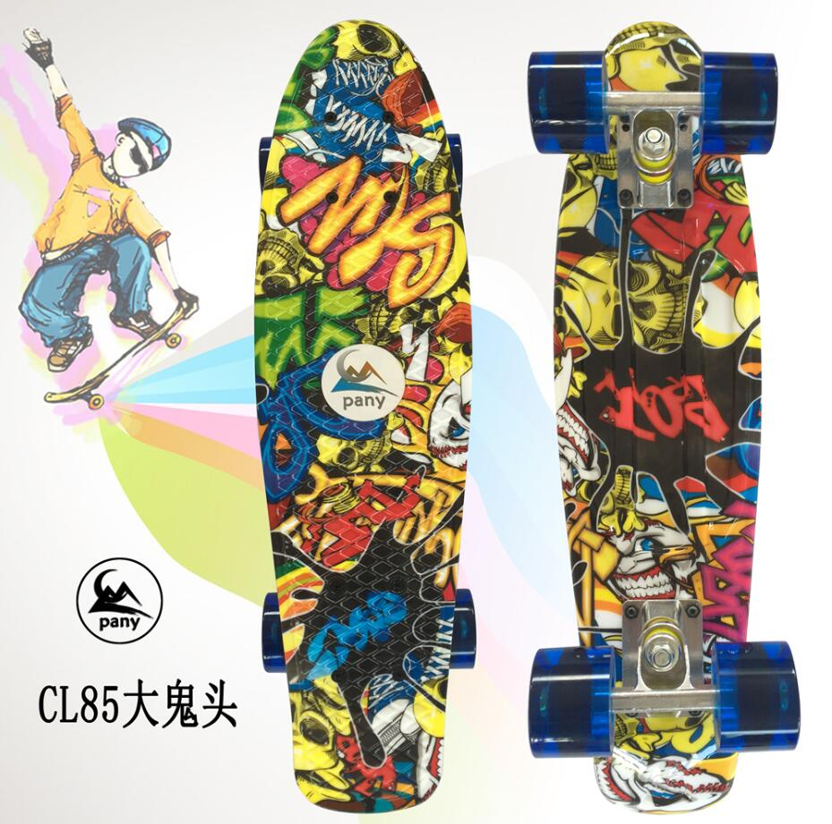 Colorful 22 Inch complete banana board With Color mixed pattern for Girl and boy to Enjoy the skateboarding Mini rocket board-in Skate Board from Sports & Entertainment