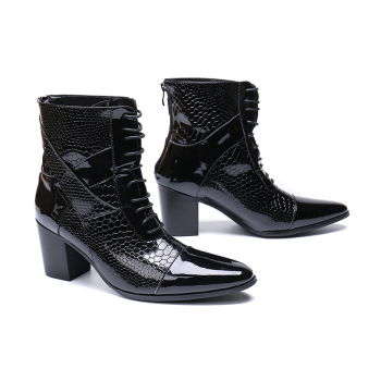 Genuine Leather high heel zip lace-up ankle boots fashion Fish scale oxford pointed toe Martin boots big size 46