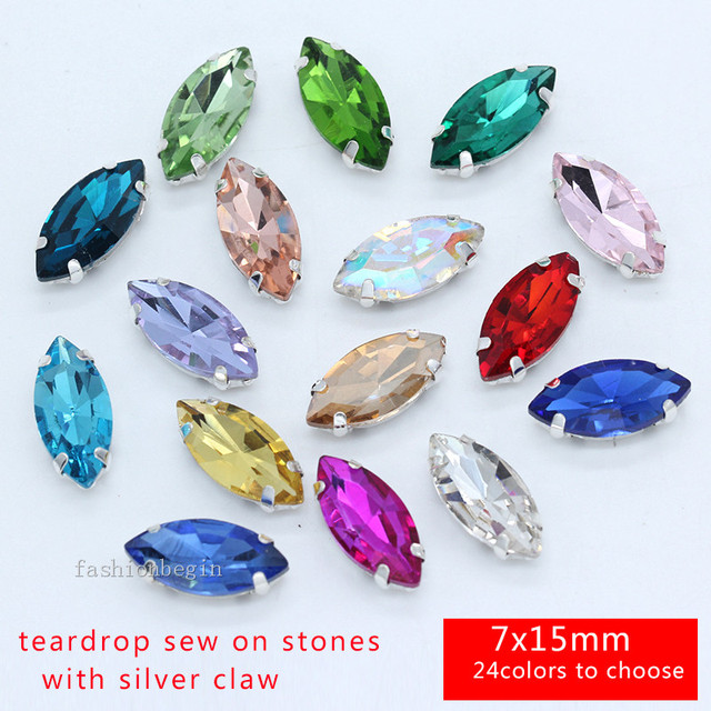 40p 15x7mm Navette color sew on crystal Cut glass FlatBack rhinestone  silver base jewels crafts for bc738a93255e
