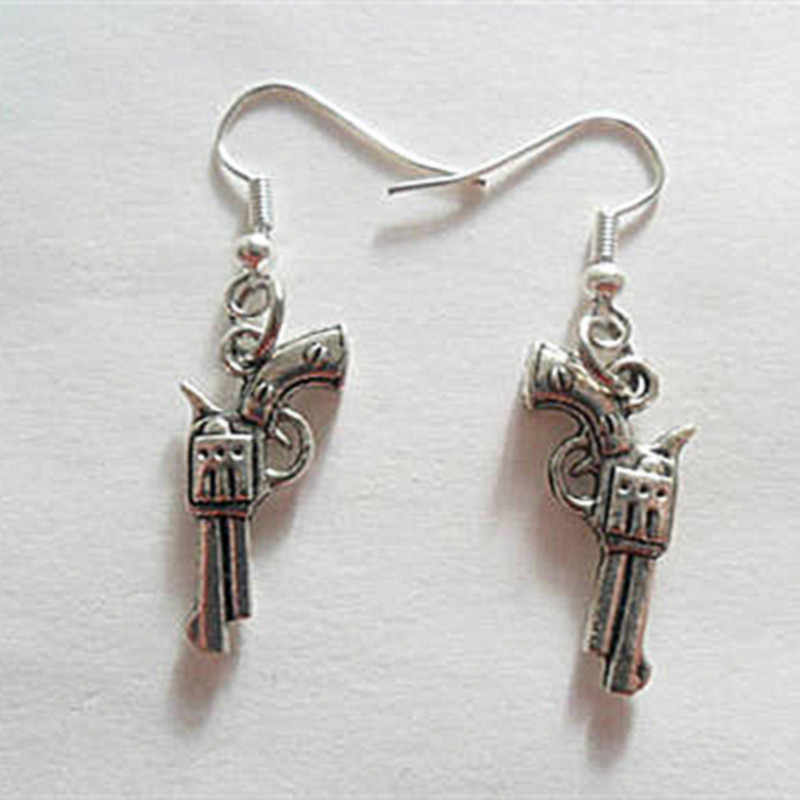 Supernatural Inspired Devil's Trap Colt Gun Charm Dangle Earrings