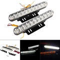 2x30 LED Car DRL Branco & Âmbar Turn Signal Daytime Running Luz Daylight