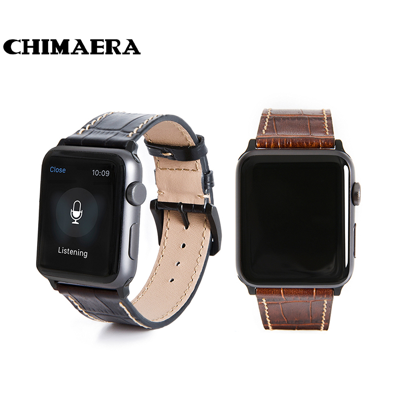 все цены на CHIMAERA 42mm Black Brown Genuine leather watch band for Apple watch with Spring bar adapter Link for Apple watch strap 42mm онлайн