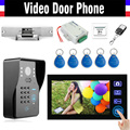 "7"" Wireless Video Doorbell Password Kit with RFID Keyfobs Electronic Strike Lock wireless controller Video Door Phone Intercom"