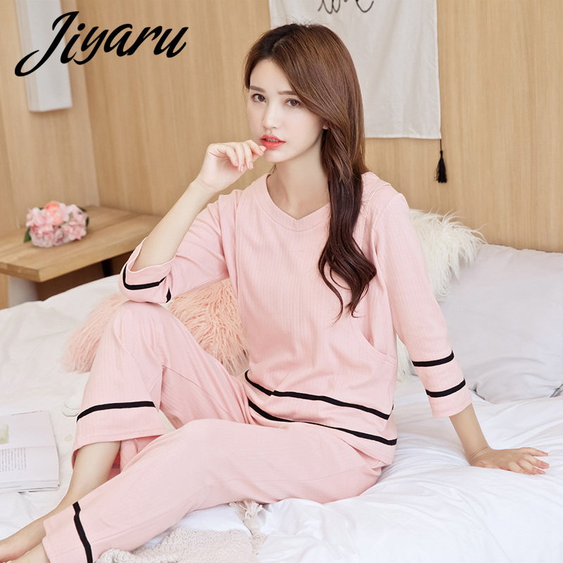 2pcs/set Maternity Pajamas Cotton Nursing Nightgown Breastfeeding Pajamas Set for Pregnant Women Maternity Sleepwear Women