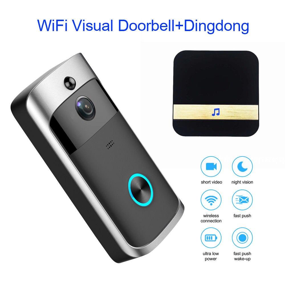 WiFi Intelligent Vidéo Sonnette HD 720 p Visuel Caméra Anneau IR + Dingdong Pour IOS Nuit Vision Interphone Vidéo Porte anneau Téléphone