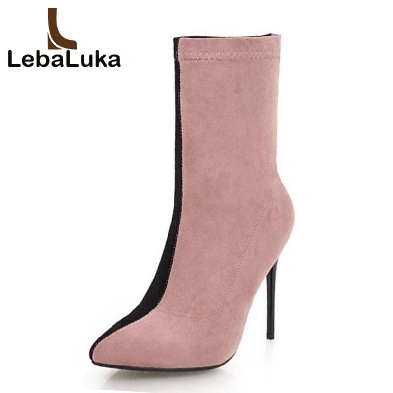 5e78a5541714f6 Mélangée Mi Talons Taille 33 Couleur Chaud D'hiver Plus Bottes Haute Bout  Femmes gris Chaussures Élastique Femme Pointu Marron ...