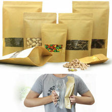 Resealable Stand Up Zip Lock Kraft Paper Food Packaging Bags Pouches with Window