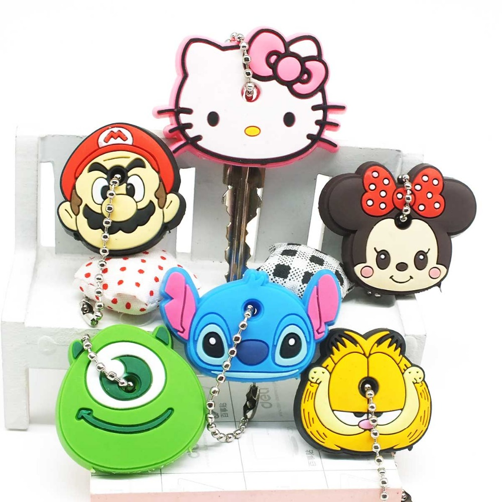 Zoeber 2017 Cartoon cute key cover Anime Minion Hello Kitty Silicone Key chains Funny animal key Holder caps keychain