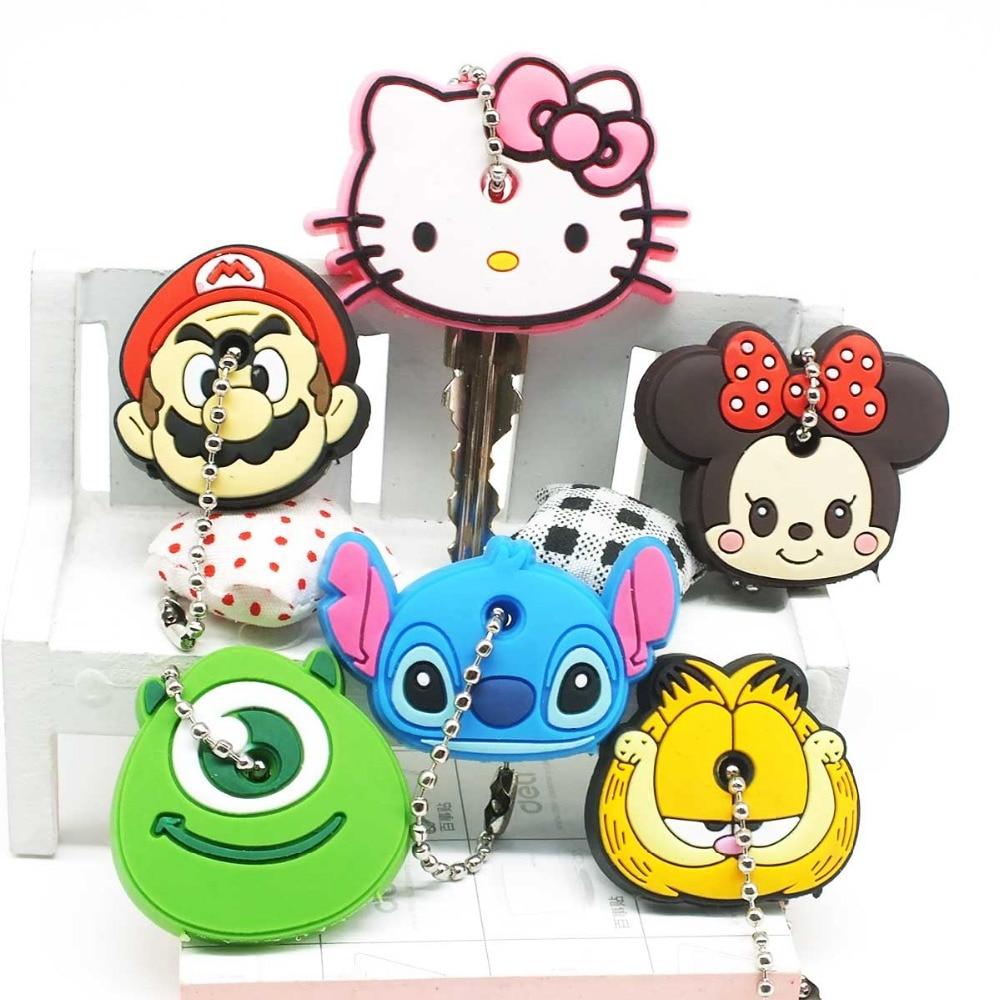 90680a5d43f4 Zoeber 2017 Cartoon cute key cover Anime Minion Hello Kitty Silicone Key  chains Funny animal key