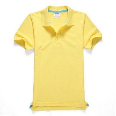 Черные, синие, белые, серые, желтые женские рубашки поло с коротким рукавом, женские повседневные рубашки поло, свободные женские рубашки больших размеров, хлопковые рабочие Топы - Цвет: Цвет: желтый