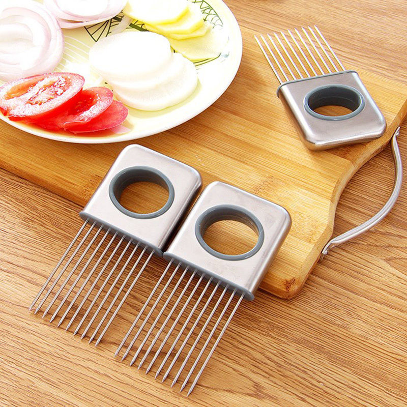 Fruit Vegetable Tools Stainless Steel Easy Onion Holder Slicer Guide Tomato Holder Cutter No More Stinky Hands Kitchen Gadgets