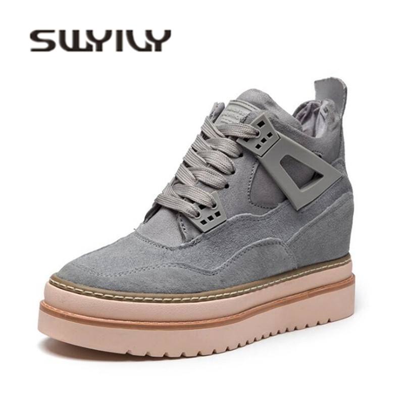 SWYIVY Platform Snow Boots Increased Wedge Woman Winter Boots 2019 Winter Warm Ankle Boots For Women