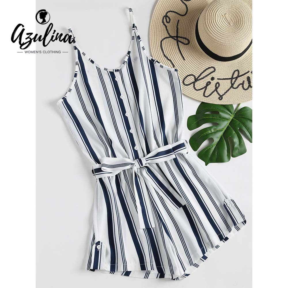 AZULINA Buttons Stripe Cami Playsuit Women Rompers Summer Cami Straps V Neck Belted Ladies Overalls Jumpsuits Girl Clothes 2018